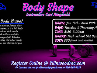 Ellinwood Recreation new Body Shape Class starting soon, get signed up today