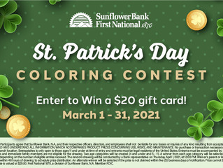 Sunflower Bank St. Patrick's Day Coloring Contest March 1-31