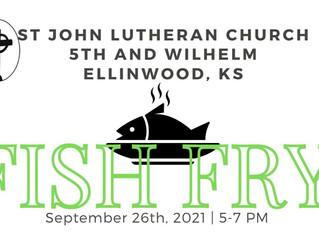 St John Lutheran Church Annual Fish Fry Sept. 25th 5-7 pm