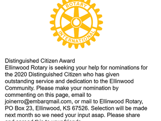 Ellinwood Rotary Club is seeking Distinguished Citizen Award Nominations