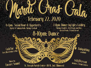 St. Joseph Parish and School presents Mardi Gras Gala February 22, 2020