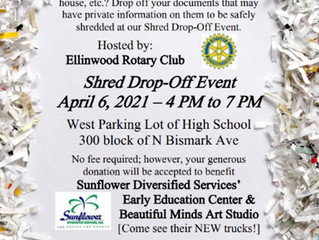 Shred Drop-Off Event hosted by Ellinwood Rotary Club April 6th