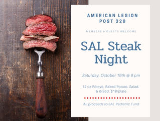 American Legion Post 320 SAL Steak Night Oct. 19th