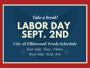 City of EllinwoodTrash Schedule for Labor Day Holiday