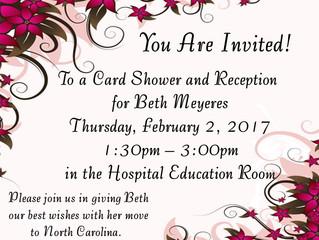 Reception for Beth Meyeres