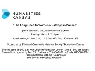 Ellinwood Community Historical Society and Humanities Kansas presents: 'The Long Road to Women&#
