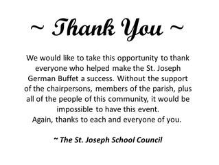 St. Joseph Says Thank You!