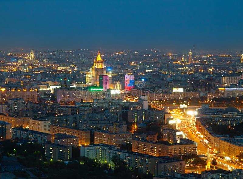 Luftbild Moskau bei Nacht