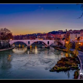 Sunset on the Tiber (18 5/8 x 15 5/8, framed)