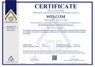 תעודת הסמכה של וויקס על עמידה בתקני אבטחה iso 27018, iso 27001