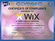 תעודת הסמכה של וויקס על עמידה בתקן אבטחה- PCI DSS