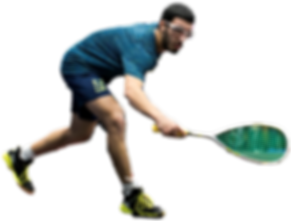 Squash player with a racket