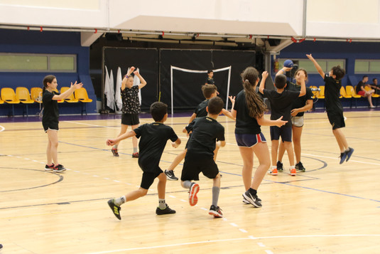 קבוצת ילדים משחקת כדוריד