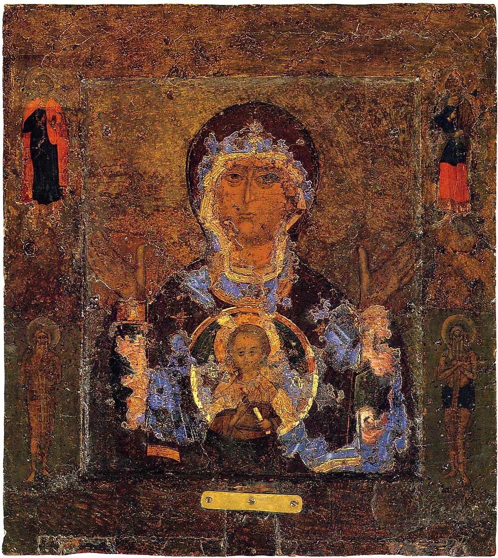 Икона Божией Матери «Знамение». Вторая четверть XII века. Происходит из Знаменского собора в Новгороде.
