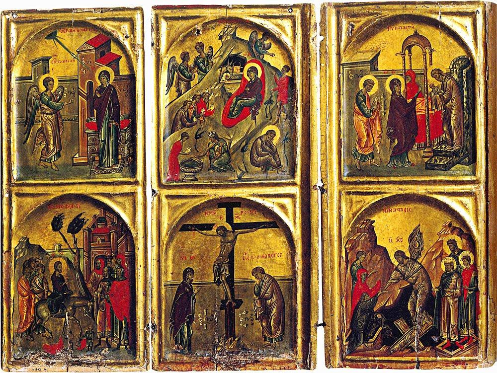 Часть гексаптиха. XIV в. Монастырь великомученицы Екатерины на Синае.
