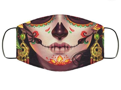 """La Catrina Of Fire"" Washable Cloth Face Covering."