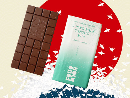 FRIIS HOLM O`PAYO MILK SANSHO 50% - MILK CHOCOLATE WITH GREEN SANSHO PEPPER