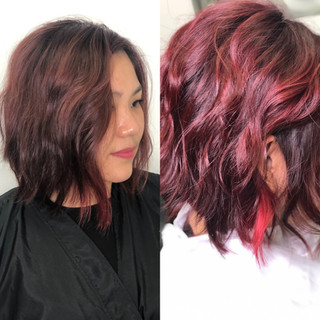 """Intense red transformation with a strong """"Money Piece"""""""