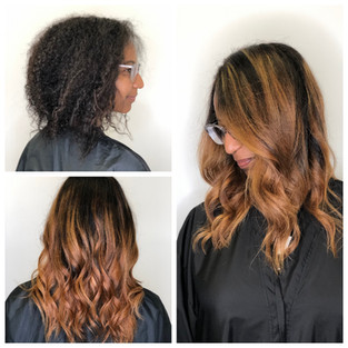 Copper Bayalage on textured hair