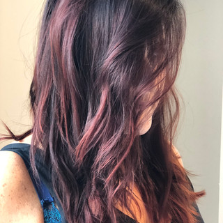 Warm Red Balayge with Gray Coverage