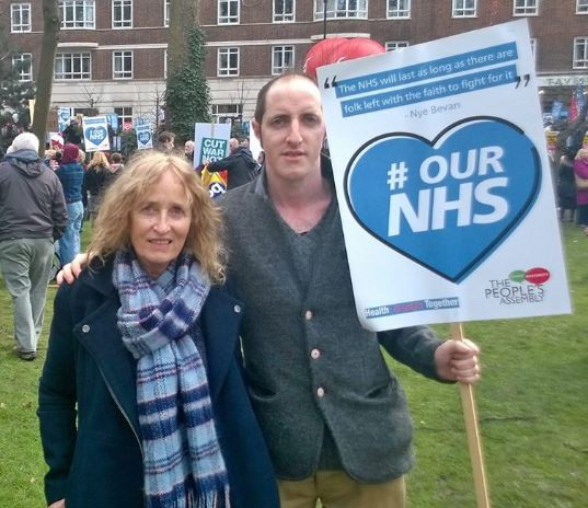 With my mum at a protest to Defend Our NHS