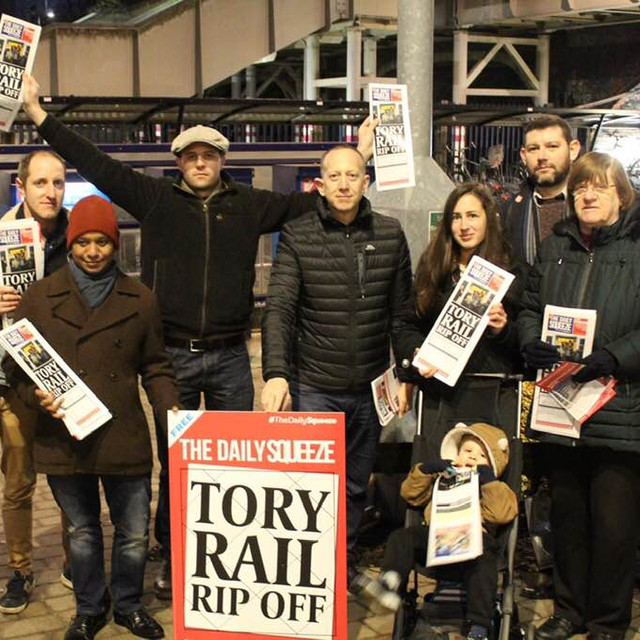 With Hertsmere Labour Party at Elstree & Borehamwood Station campaigning against fare hikes