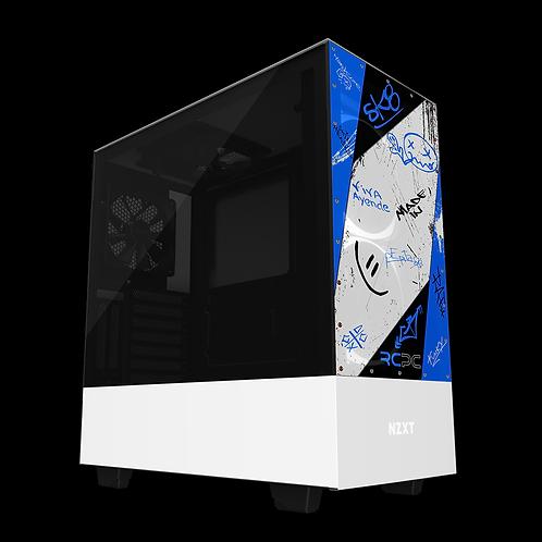 NZXT H510 Elite Blue-Black-White-Grey Graffiti Grunge Wrap
