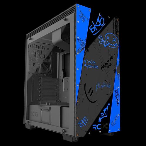 NZXT H710 Blue-Black-Grey Graffiti Grunge Wrap