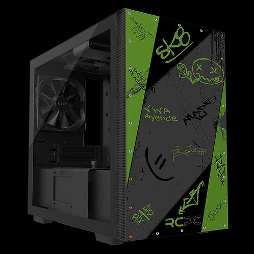 NZXT H210 Green-Grey-Black Graffiti Grunge Wrap