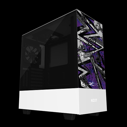 NZXT H510 Elite Purple-Grey-White Abstract Grunge Wrap
