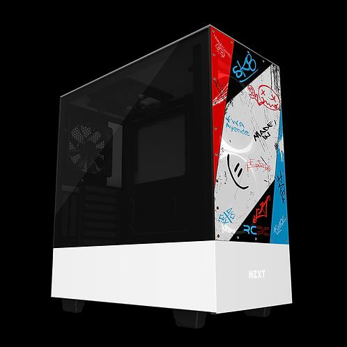 NZXT H510 Elite Red-White-Turquoise-Black Graffiti Grunge Wrap
