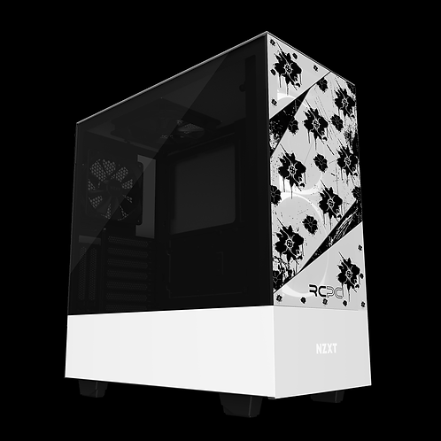 NZXT H510 Elite Black-White Floral Grunge Wrap