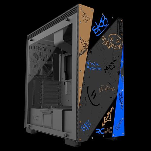 NZXT H710 Brown-Blue-Grey-Black Graffiti Grunge Wrap