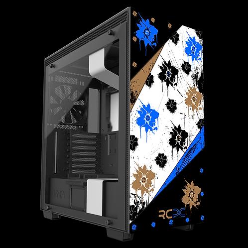 NZXT H710 Blue-Brown-Black-White Floral Grunge Wrap