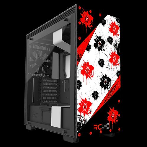 Red-Black-White Floral Grunge Wrap