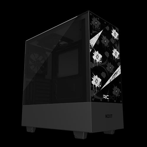 NZXT H510 Elite Black-White-Grey Floral Grunge Wrap