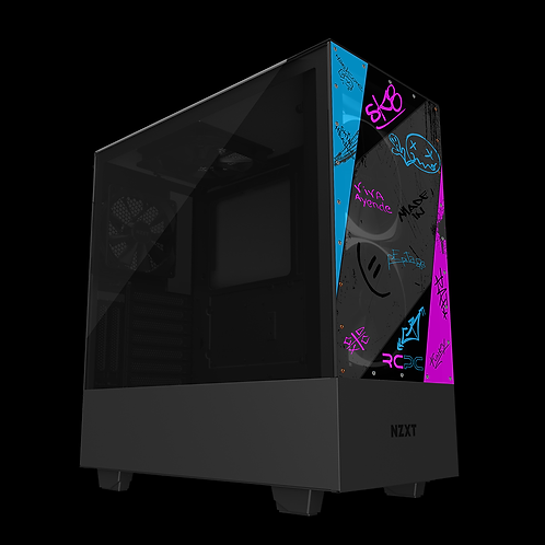 NZXT H510 Elite Pink-Turquoise-Black-Grey Graffiti Grunge Wrap