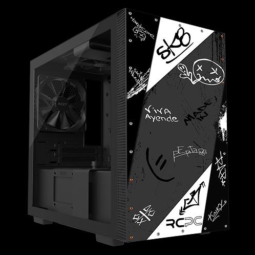 NZXT H210 Black-White-Grey Graffiti Grunge Wrap