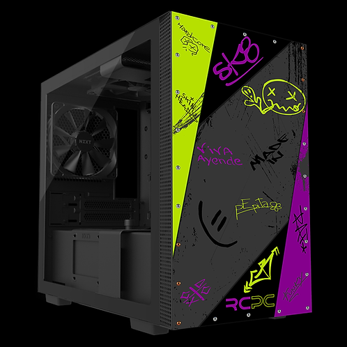 NZXT H210 Zingy Lime-Purple-Grey-Black Graffiti Grunge Wrap