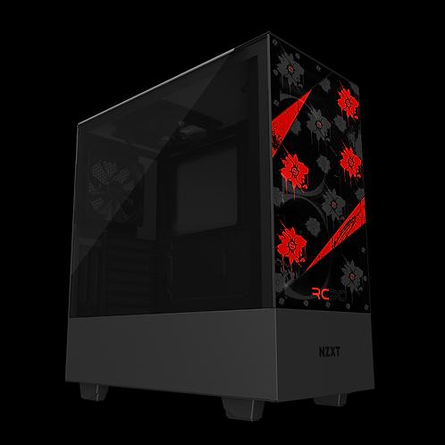 NZXT H510 Elite Red-Black-Grey Floral Grunge Wrap