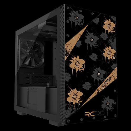 NZXT H210 Brown-Black-Grey Floral Grunge Wrap