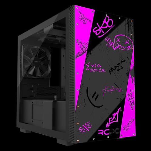 NZXT H210 Pink-Grey-Black Graffiti Grunge Wrap