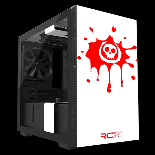 NZXT H210 White-Red Skull Splat Wrap