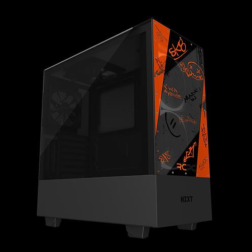 NZXT H510 Elite Orange-Grey-Black Graffiti Grunge Wrap