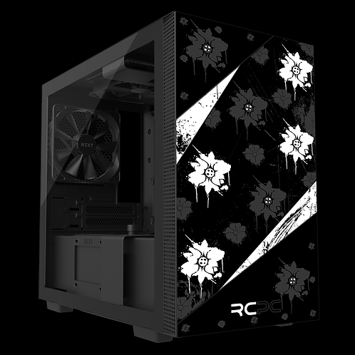 NZXT H210 Black-White-Grey Floral Grunge Wrap