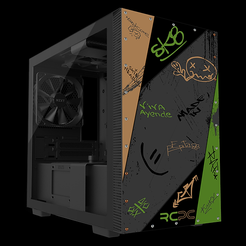 NZXT H210 Green-Brown-Black-Grey Graffiti Grunge Wrap