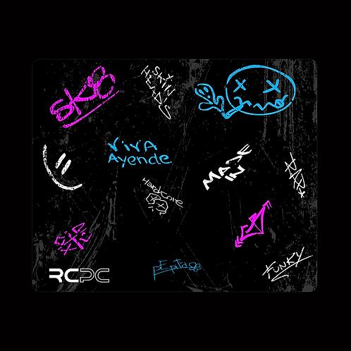 Pink-Turquoise-Black-White-Grey Graffiti Grunge Mouse Pad
