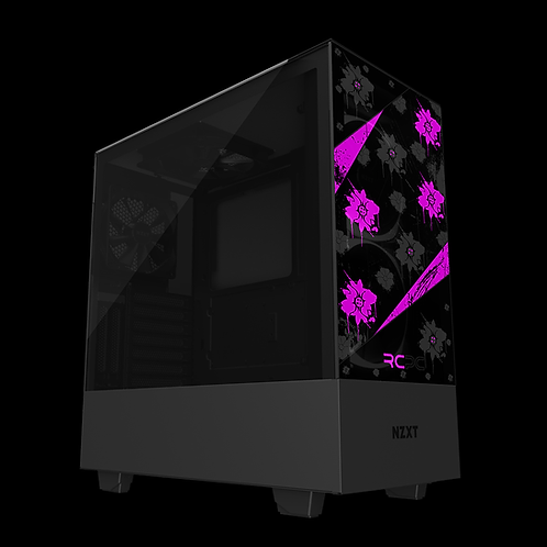 NZXT H510 Elite Pink-Black-Grey Floral Grunge Wrap