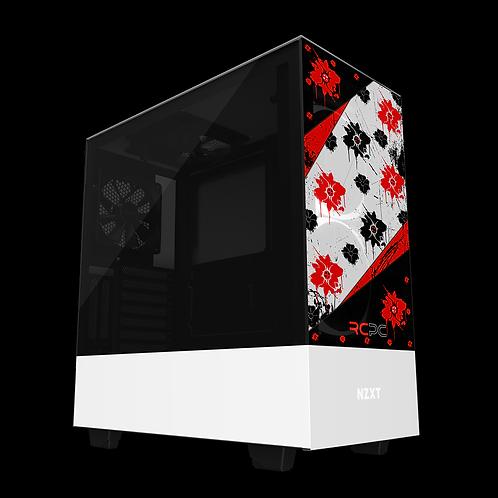 NZXT H510 Elite Red-Black-White Floral Grunge Wrap