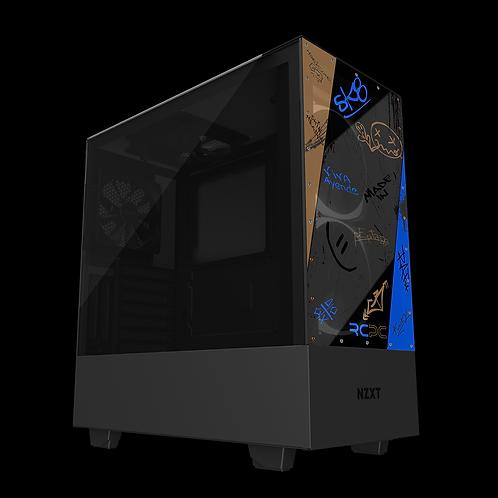 NZXT H510 Elite Brown-Blue-Grey-Black Graffiti Grunge Wrap